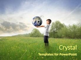 Presentation design having child holding the earth background and a tawny brown colored foreground