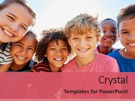 Beautiful PPT layouts featuring children - close up of pre-teen friends backdrop and a coral colored foreground