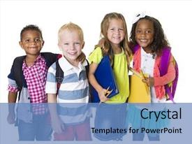 Colorful slide deck enhanced with children - elementary school kids group isolated backdrop and a teal colored foreground