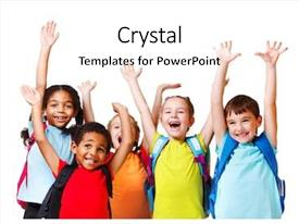 PPT layouts having children - group of emotional friends background and a white colored foreground