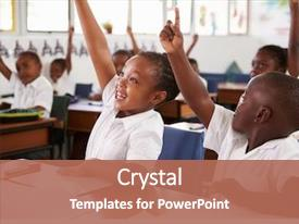 Presentation with children - kids raising hands during elementary background and a coral colored foreground