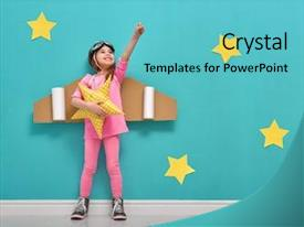 Cool new PPT theme with children - little child girl backdrop and a teal colored foreground
