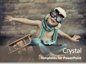 PPT theme having children - small boy playing background and a gray colored foreground