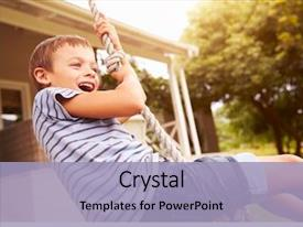 Presentation theme with children - smiling boy swinging background and a light blue colored foreground