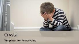 Colorful PPT theme enhanced with children - upset problem child with head backdrop and a light gray colored foreground