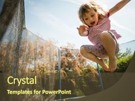 Theme with trampoline - children - child jumping high background and a tawny brown colored foreground.