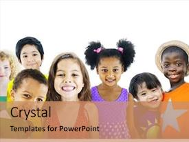 Presentation design consisting of children kids happines multiethnic group background and a coral colored foreground