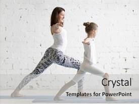 Amazing presentation design having children - kids yoga female teacher training backdrop and a light gray colored foreground.