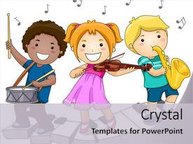 PPT theme consisting of children playing with musical instruments background and a light gray colored foreground.