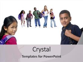 Colorful PPT theme enhanced with children reading - young kids are backdrop and a light gray colored foreground.