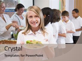 Colorful presentation theme enhanced with children school - students in cafeteria line backdrop and a mint green colored foreground.