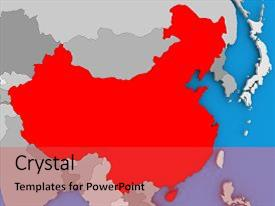 Presentation theme enhanced with china in red on political map 3d illustration background and a  colored foreground.