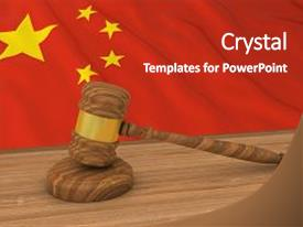 Audience pleasing PPT layouts consisting of chinese law concept - flag backdrop and a crimson colored foreground.