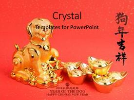 amazing ppt theme having chinese new year decoration golden dog statue and gold ingots translation of