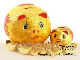 amazing presentation design having chinese new year ornament gold piggy bank and ingot on