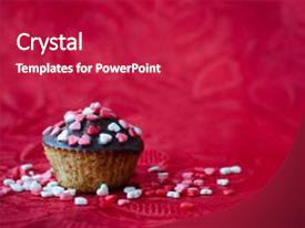 Cool new slide deck with romantic - chocolate and small heart backdrop and a crimson colored foreground.
