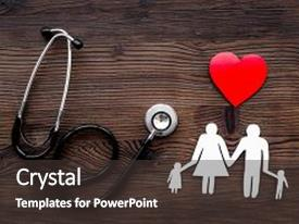 PPT theme consisting of choose family health insurance stethoscope paper heart and silhouette of family on dark wooden background top view background and a dark gray colored foreground.