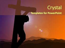Presentation theme having christ on the cross background and a tawny brown colored foreground.