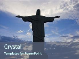 Theme consisting of christ the redeemer silhouette background and a ocean colored foreground.