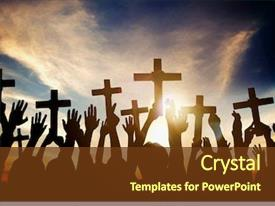 Presentation consisting of christian - group of people holding cross background and a tawny brown colored foreground