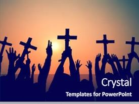 Beautiful PPT theme featuring christian - hands holding cross christianity religion backdrop and a navy blue colored foreground