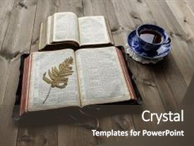 PPT theme enhanced with christian bible study scene background and a dark gray colored foreground.