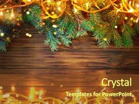 Presentation design having christmas background a table decorated with christmas garland and fir branches happy new year and merry christmas background with copy space background and a tawny brown colored foreground.