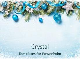 Colorful presentation theme enhanced with christmas background blue and silver backdrop and a sky blue colored foreground.