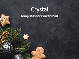 Audience pleasing presentation theme consisting of christmas background gingerbread cookies fir tree christmas toys and holiday decorations frame on blackboard or stone backdrop top view with copy space for text backdrop and a dark gray colored foreground.