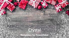 Beautiful PPT layouts featuring christmas background with decorations backdrop and a gray colored foreground