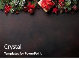 Beautiful slides featuring christmas background with fir tree backdrop and a dark gray colored foreground