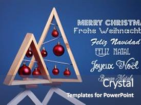 Slide deck featuring christmas background with modern christmas tree made of wooden desk on blue background stay on top of frames with inscription merry christmas on different languages copy space greeting card creative christmas tree background and a ocean colored foreground.