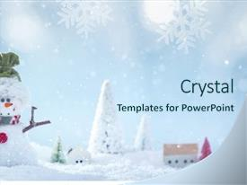 Cool new PPT layouts with christmas background with snowman backdrop and a sky blue colored foreground