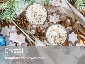 Amazing presentation having christmas background with two latte cookies star fir branches cones christmas balls and spices close up couple coffee with milk and homemade tasty cookies in tray on wooden background top view backdrop and a gray colored foreground.