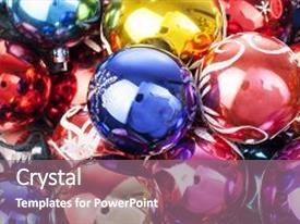 PPT layouts with christmas bauble ball texture real glass ball christmas baubles balls celebrate christmas holiday with colorful shiny brilliant christmas balls christmas ornaments illustrate holiday with christmas balls colorful background and a violet colored foreground.