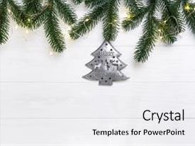 Slide deck featuring christmas composition christmas fir branches and iron christmas tree with lights on wooden white background flat lay top view copy space background and a white colored foreground.