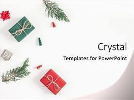 Slide deck consisting of christmas composition frame made of christmas gifts pine branches toys on white background flat lay top view copy space background and a white colored foreground.