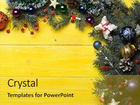 Amazing PPT theme having christmas decorations on yellow wooden texture background composition of christmas tree decor copy space winter time and new year card concept toys balls and stars decorate fir tree branches backdrop and a yellow colored foreground.