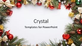 PPT theme enhanced with christmas frame with christmas ornaments background and a sky blue colored foreground