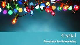 Theme consisting of christmas lights over dark blue background and a teal colored foreground