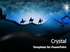 Slide deck with christmas nativity scene of three wise men magi going to meet baby jesus in the manger with the city of bethlehem in the distance illustration background and a black colored foreground.