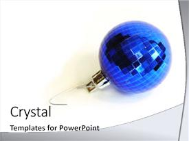 Beautiful PPT theme featuring christmas ornaments - blue xmas ornament backdrop and a white colored foreground.