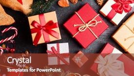 Cool new presentation theme with christmas presents on dark background backdrop and a tawny brown colored foreground