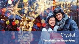 PPT theme enhanced with christmas shopping together young happy background and a ocean colored foreground