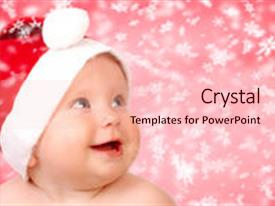 Presentation theme with christmas smiling baby over red background new year background and a lemonade colored foreground.