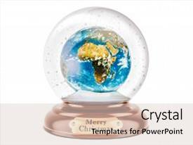 PPT layouts with christmas snow globe with earth globe inside 3d rendering isolated on white background background and a lemonade colored foreground.