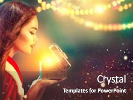 Audience pleasing PPT layouts consisting of christmas winter woman opening magic christmas gift box fairy beautiful new year and christmas scene beauty fashion model girl with present box at night holiday magic stars and light backdrop and a tawny brown colored foreground.
