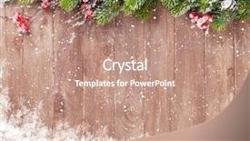 PPT theme featuring christmas wooden background with snow background and a coral colored foreground