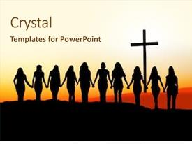 Amazing presentation theme having church - sunset silhouette of 10 young backdrop and a cream colored foreground