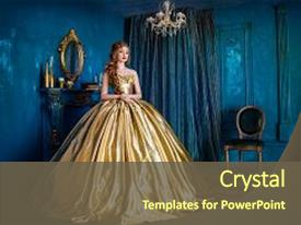 Presentation theme featuring gowns - cinderella - beautiful woman background and a tawny brown colored foreground.